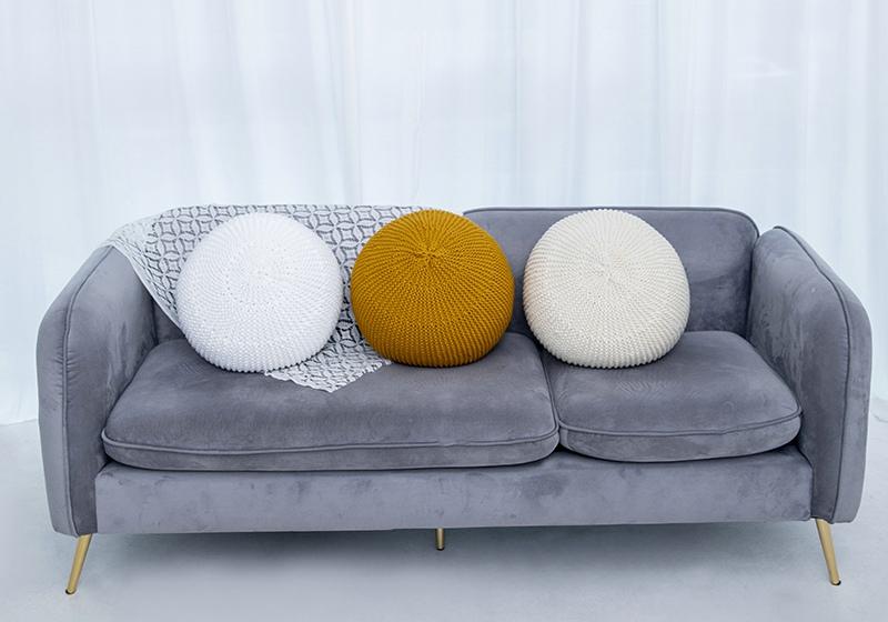 16994# 手工编织棉线圆靠垫,室内客厅沙发,瑜伽汽车圆墩榻榻米垫(一件订制)
